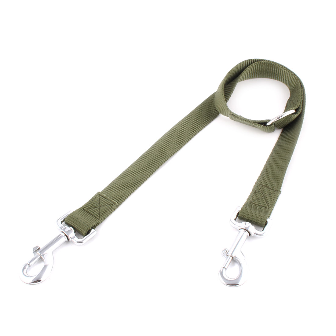 Pet Puppy Nylon Strap Pure Pattern Dog Control 2 Dogs Lead Leashes Army Green