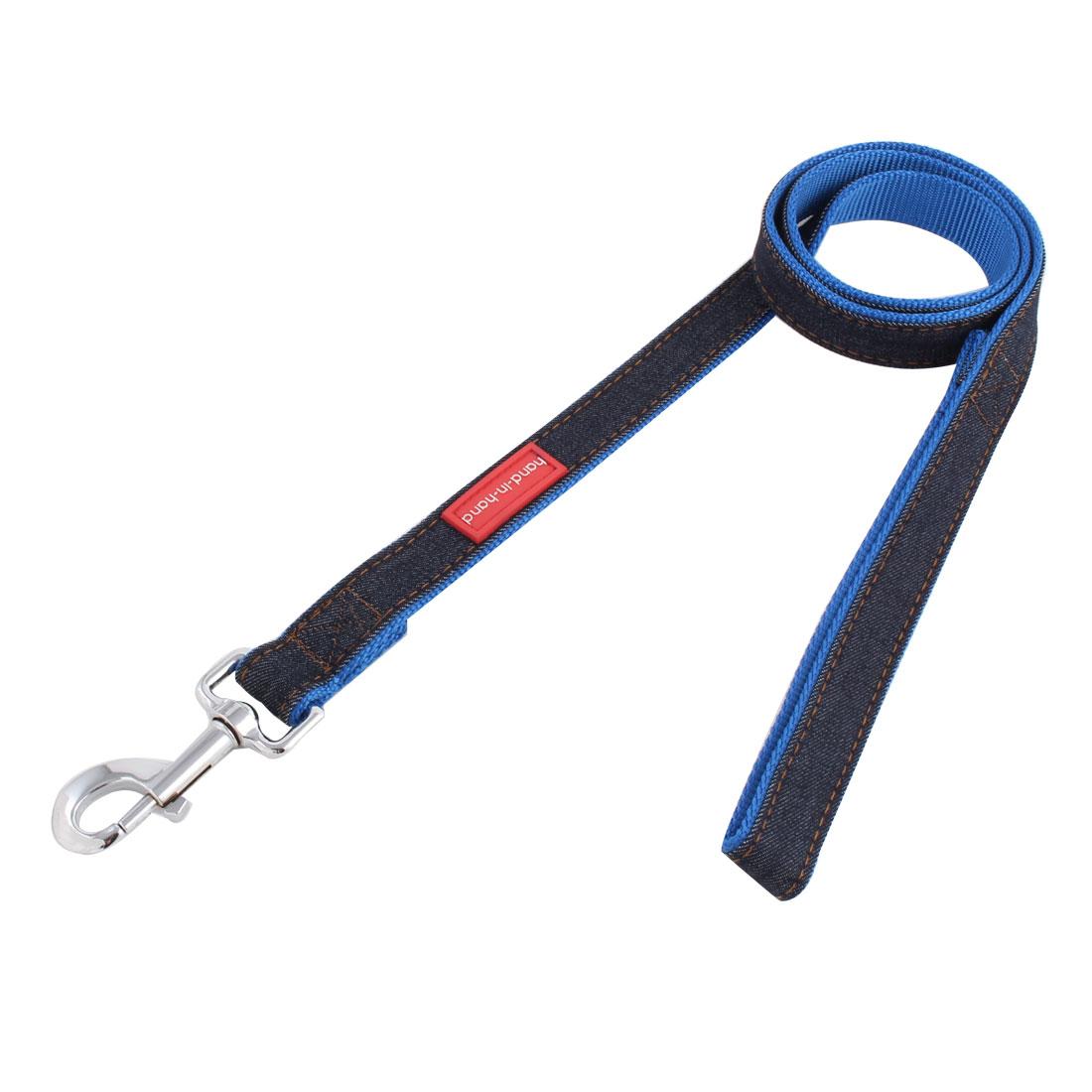 Dog Pet Puppy Denim Swivel Hook Walking Lead Training Rope Leash Strap Belt Blue