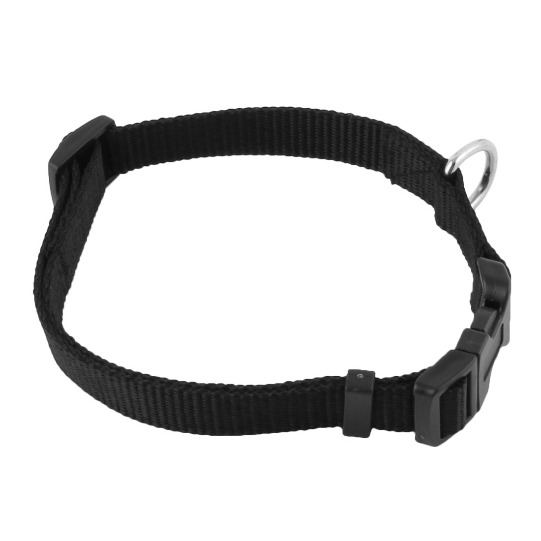 Dog Puppy Nylon Adjustable Safty Buckle Neck Collar Strap Band Black