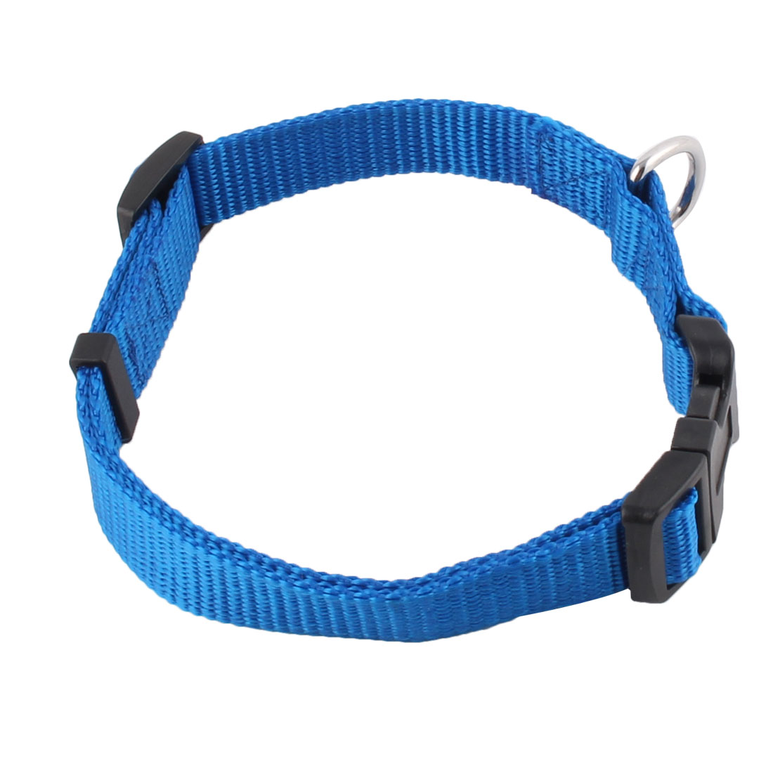 Nylon Adjustable Safty Buckle Neck Collar Strap Band Blue for Pet Dog Puppy
