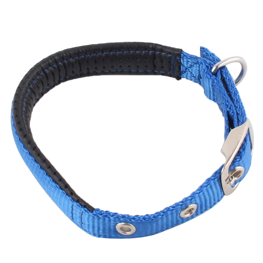 Pet Dog Puppy Faux Leather Adjustable Belt Collar Release Buckle Blue