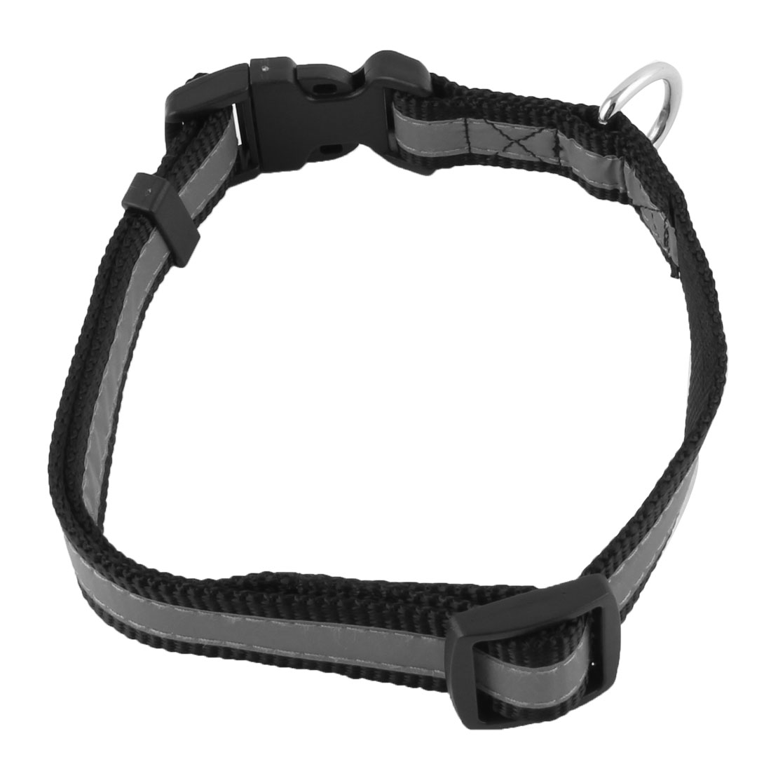 Pet Dog Puppy Nylon Reflective Adjustable Safty Buckle Neck Collar Strap Black