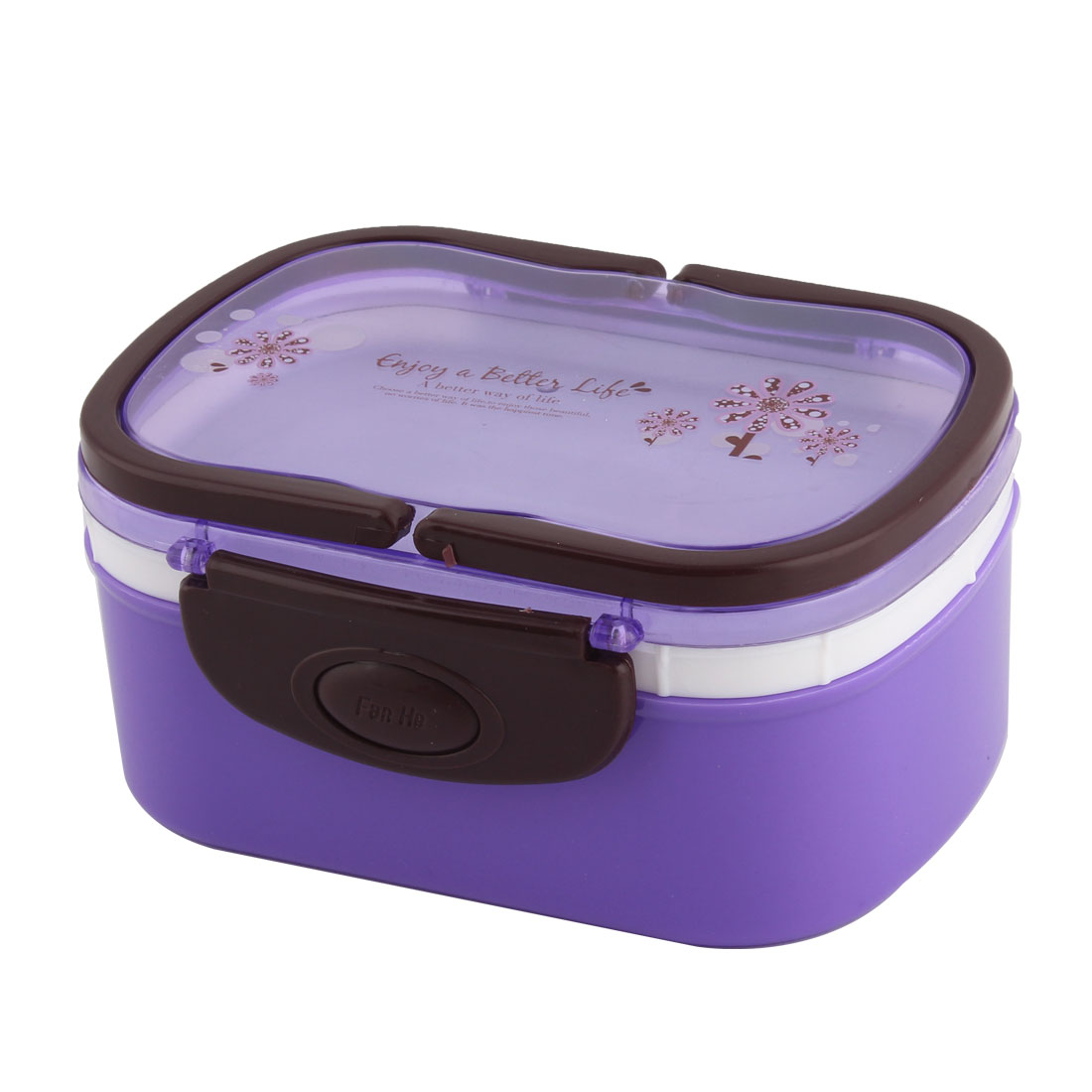 Household Outdoor Plastic Flower Pattern Handle Food Container Lunch Box Purple