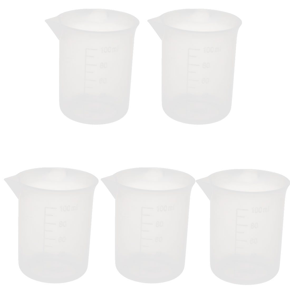 5pcs 100ml Laboratory Plastic Liquid Container Measuring Cup Beaker Clear