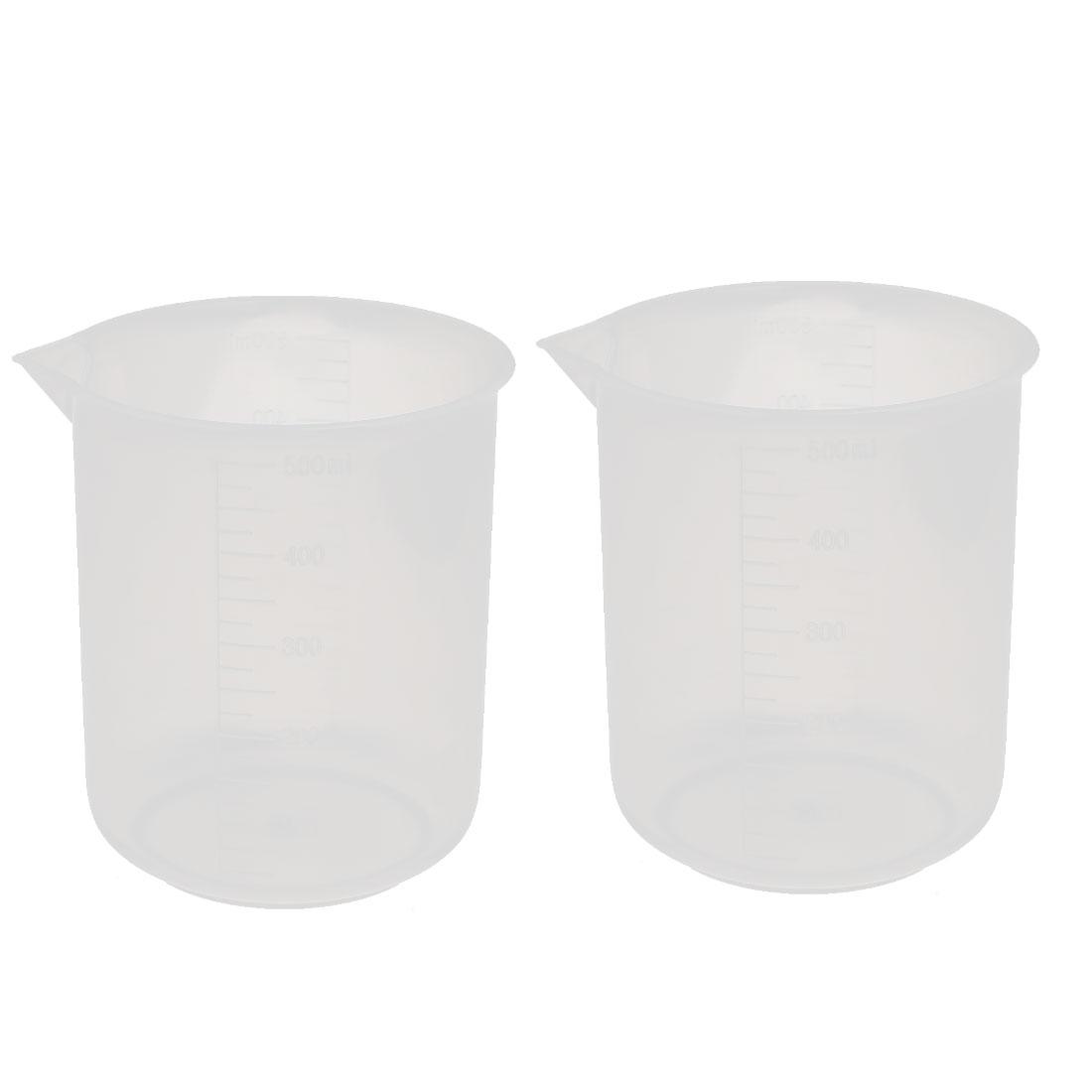 2pcs 500mL Lab Plastic Liquid Container Measuring Cup Beaker Clear