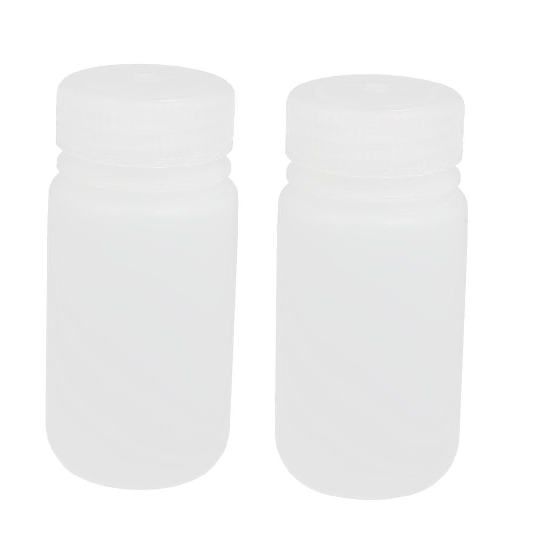 2pcs 100ml Plastic Round Laboratory Reagent Bottle Sample Thicken Bottle White