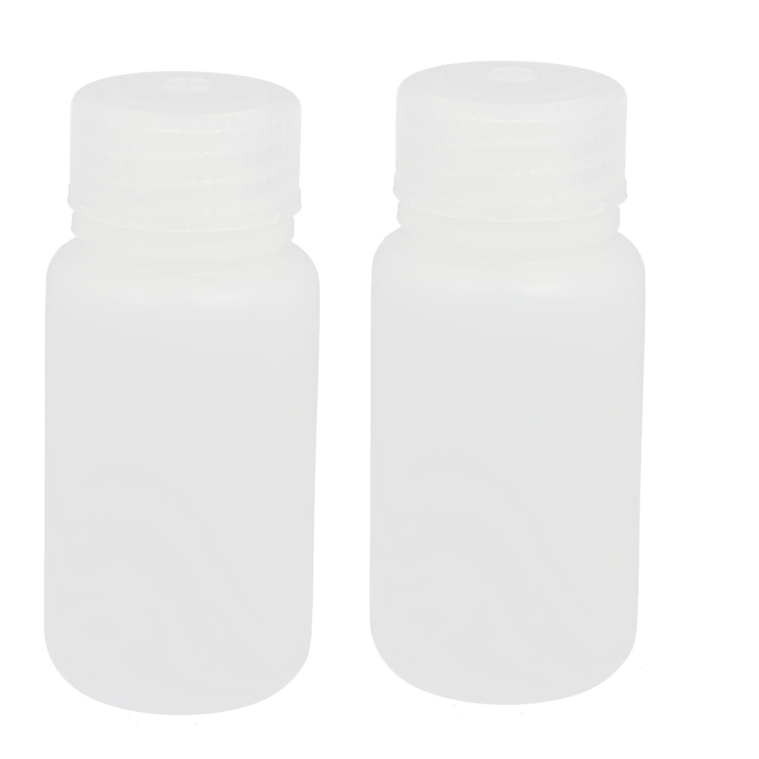 2pcs 60ml Plastic Round Laboratory Reagent Bottle Sample Thicken Bottle White