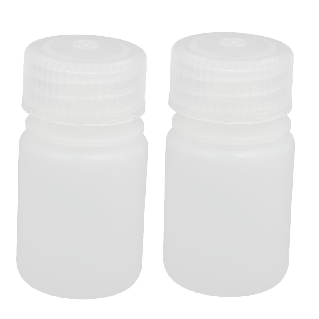 2pcs 30ml Plastic Round Laboratory Reagent Bottle Sample Thicken Bottle White