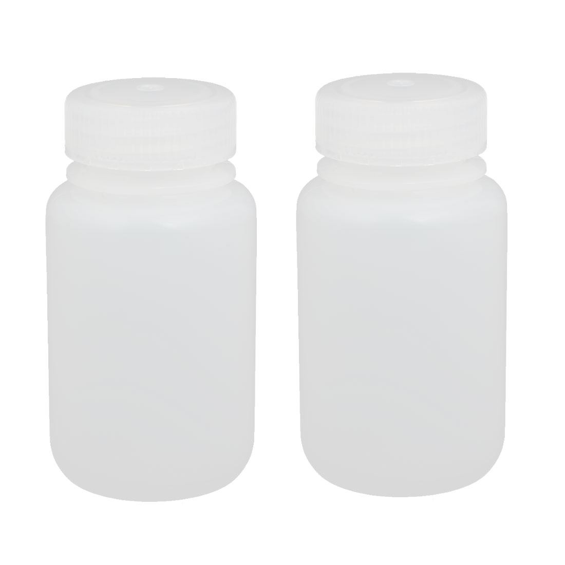 2pcs 150ml Plastic Round Laboratory Reagent Bottle Sample Thicken Bottle White