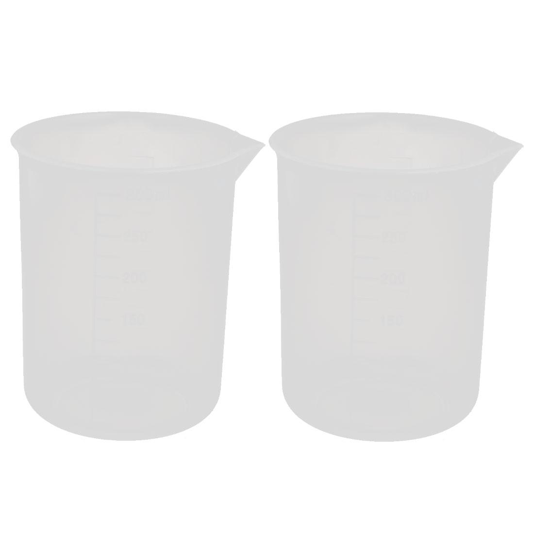 2pcs 250mL Laboratory Plastic Liquid Container Measuring Cup Beaker Clear