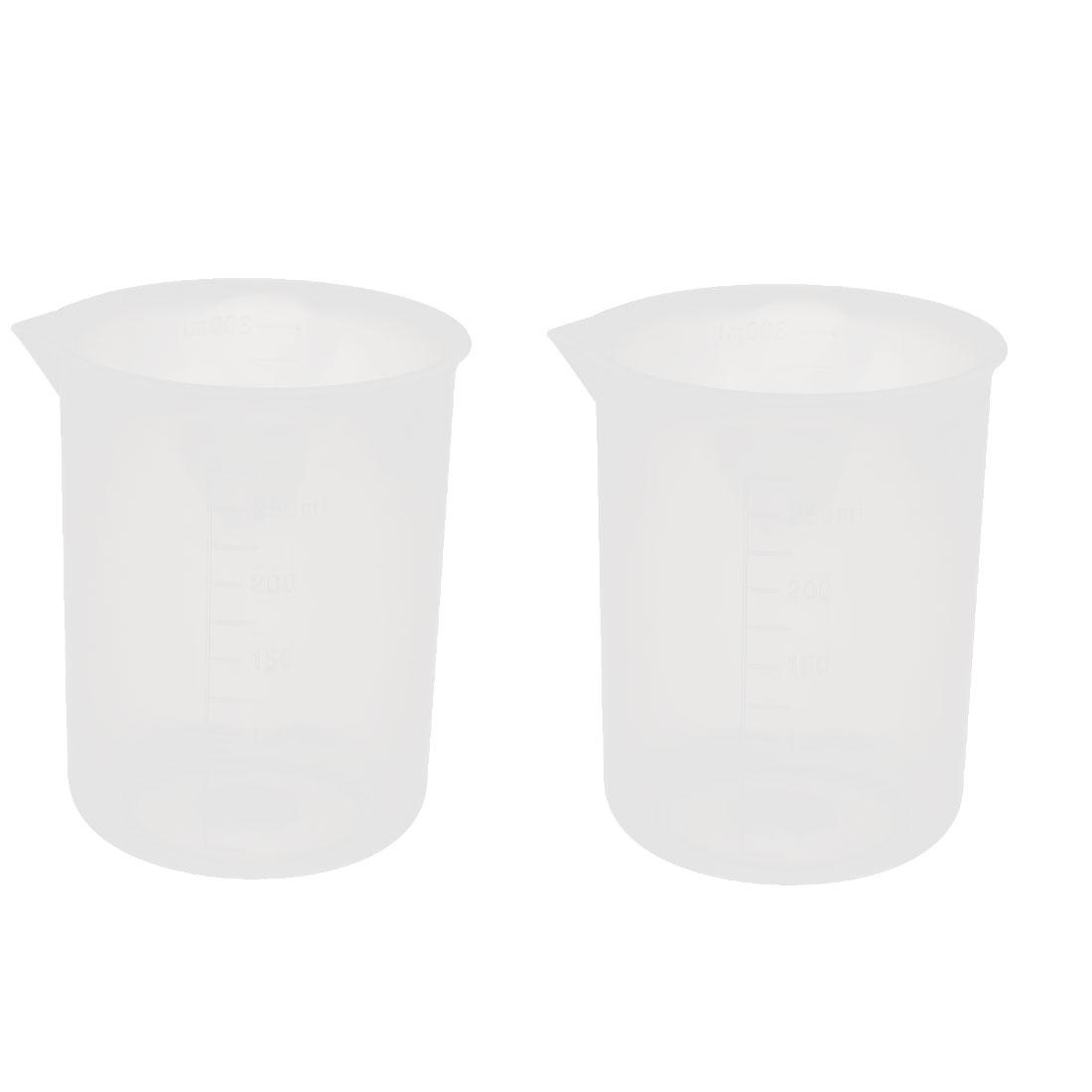 2pcs 250mL Laboratory Plastic Liquid Container Measuring Cup Beaker