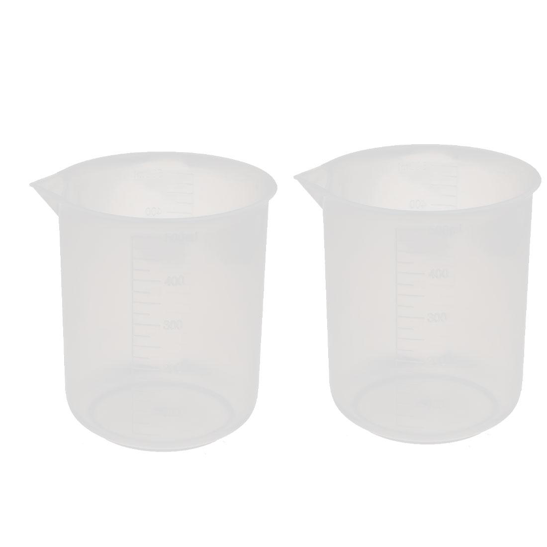 2pcs 500mL Laboratory Plastic Liquid Container Measuring Cup Beaker Clear