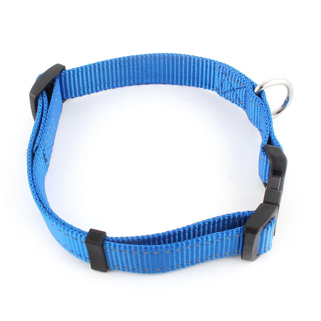 Pet Dog Nylon Adjustable Buckle Strap Reflective Neck Collar Belt Blue