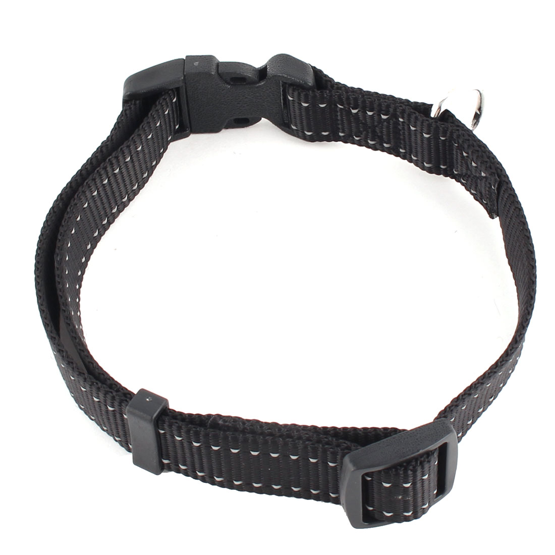 Pet Dog Nylon Adjustable Buckle Strap Reflective Neck Collar Belt Black