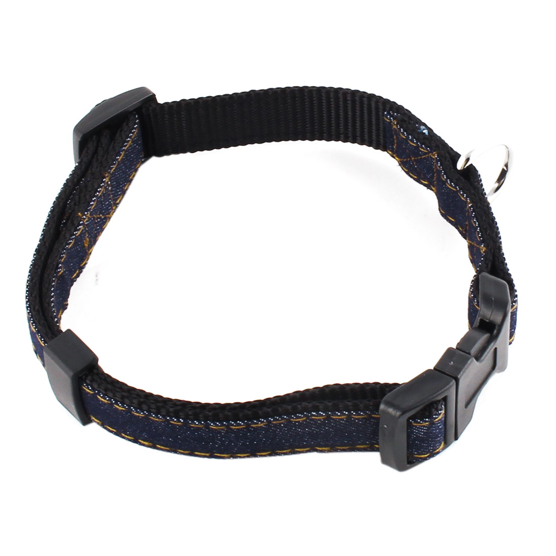 Pet Dog Denim Adjustable Side Release Buckle Neck Collar Belt Black