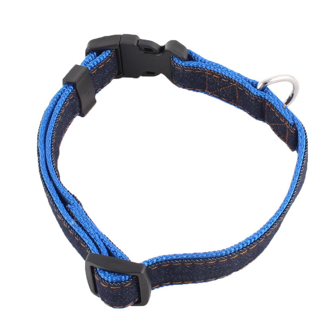 Pet Dog Denim Adjustable Side Release Buckle Neck Collar Belt Blue