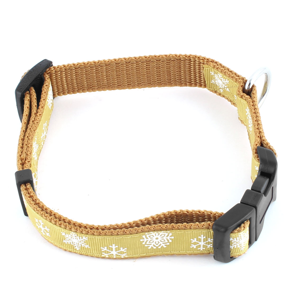 Pet Dog Nylon Snowflake Pattern Adjustable Buckle Strap Belt Neck Collar Khaki