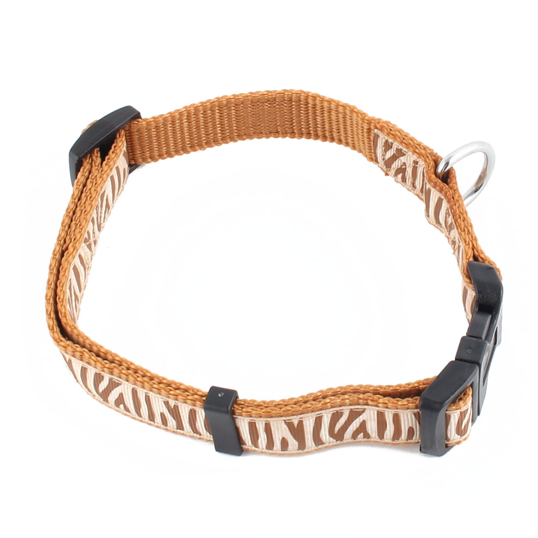 Pet Dog Nylon Zebra-stripe Pattern Adjustable Buckle Strap Belt Neck Collar Brown