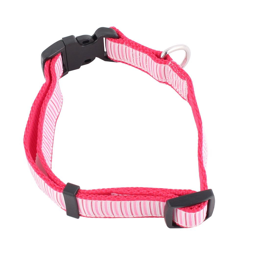 Pet Dog Nylon Stripe Pattern Adjustable Buckle Strap Belt Neck Collar Magenta