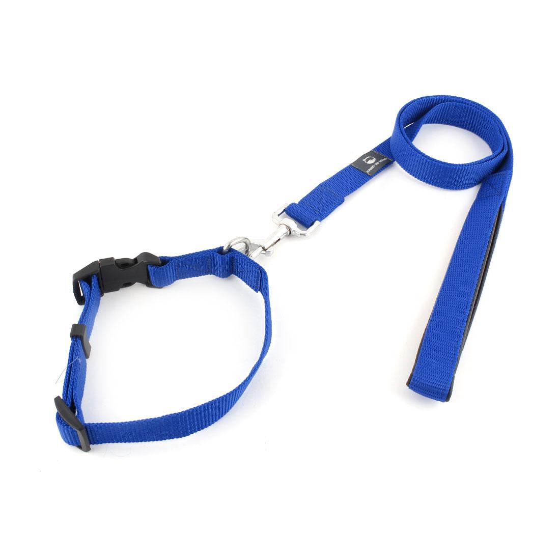 Pet Dog Swivel Hook Walking Training Lead Rope Belt Leash Blue w Neck Collar