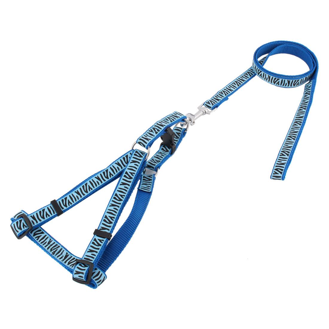 Pet Dog Zebra Stripe Pattern Adjustable Band Belt Release Buckle Harness Leash Blue