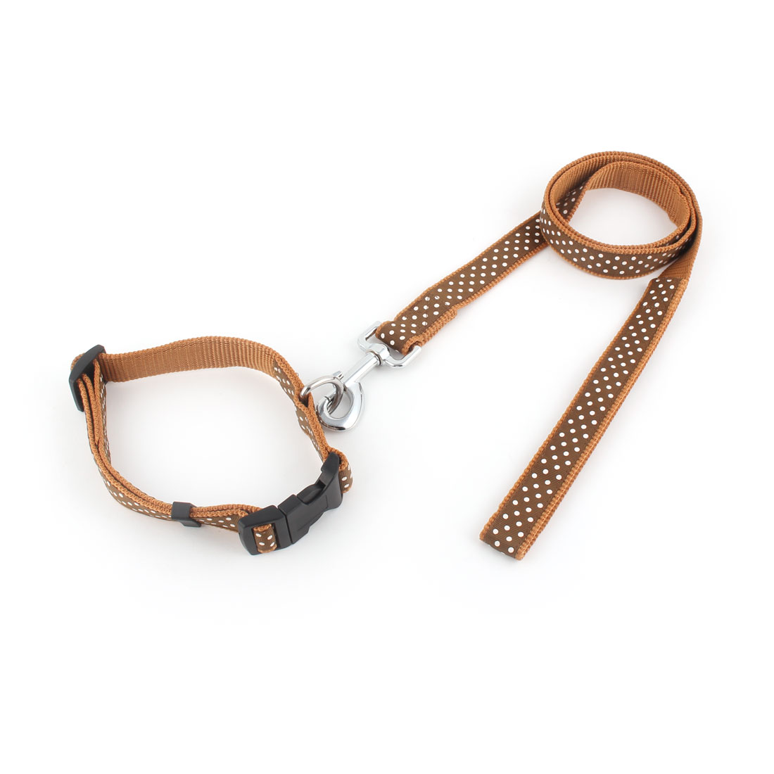Dog Pet Nylon Dots Pattern Walking Training Neck Collar Belt Lead Rope Leash Brown