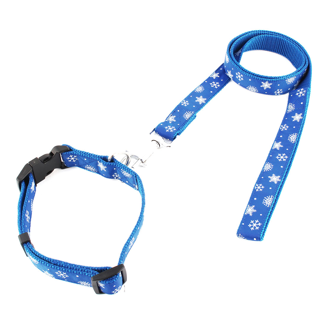 Dog Pet Puppy Snowflake Pattern Swivel Hook Walking Lead Training Rope Leash Blue w Neck Collar