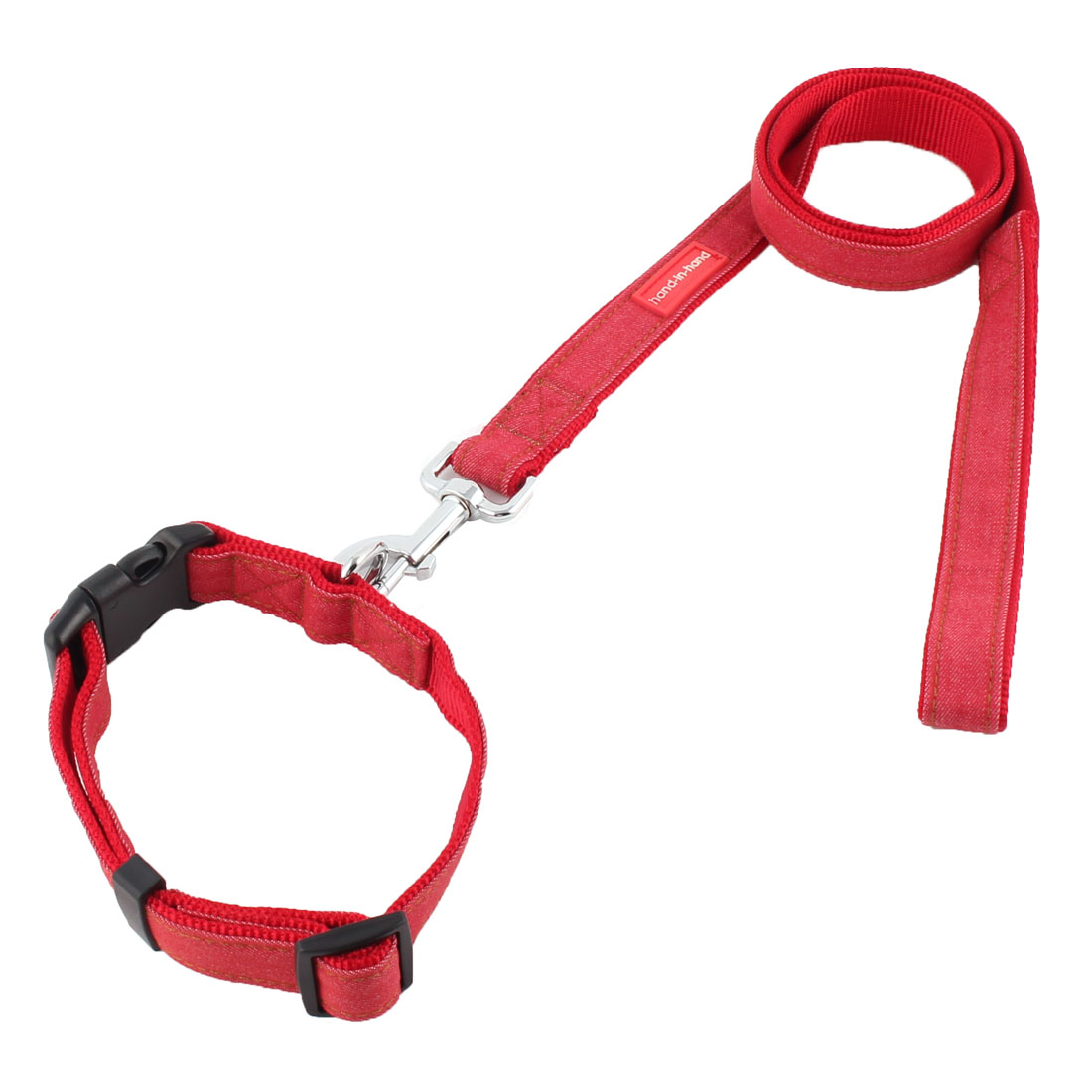 Dog Pet Puppy Denim Swivel Hook Walking Lead Training Rope Leash Red w Neck Collar