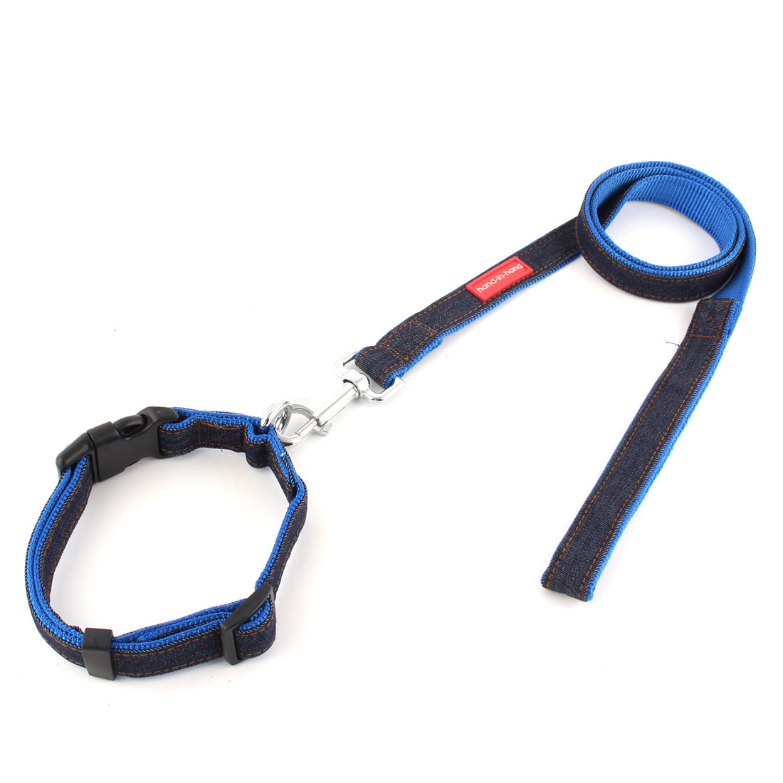 Dog Pet Puppy Denim Swivel Hook Walking Lead Training Rope Leash Blue w Neck Collar