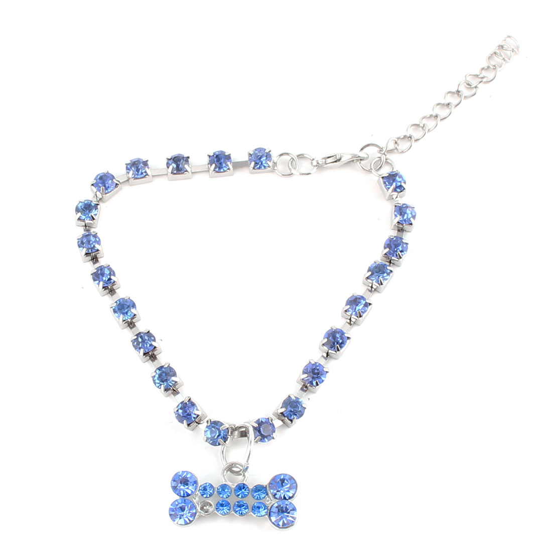 Pet Puppy Dog Bone Pattern Pendant Rhinestone Inlaid Necklace Neck Chain Blue