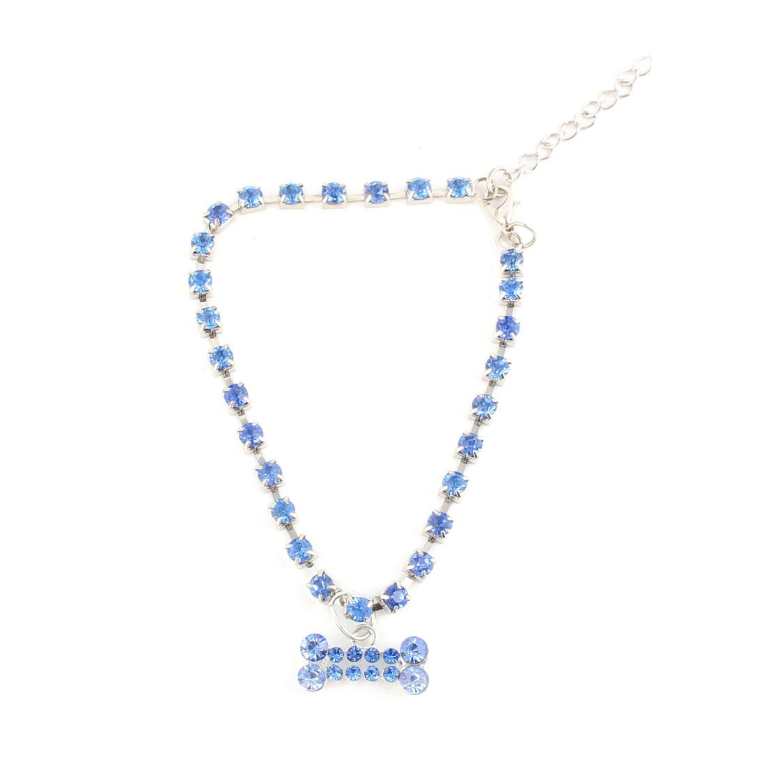 Pet Dog Bone Pattern Pendant Rhinestone Inlaid Decorative Necklace Neck Chain Blue