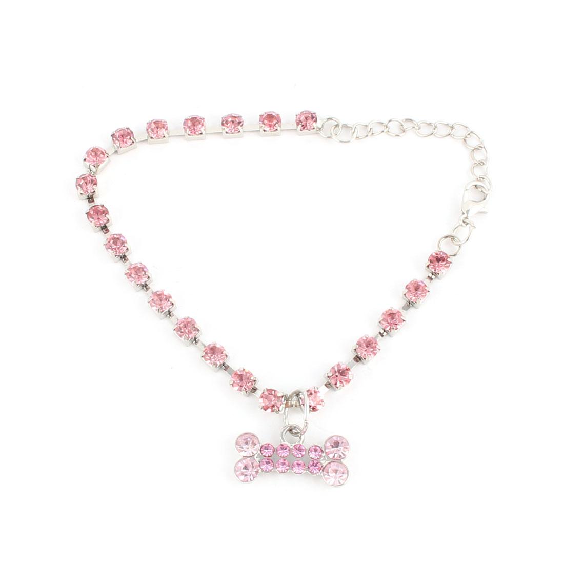Pet Puppy Dog Bone Pattern Pendant Rhinestone Inlaid Necklace Neck Chain Pink