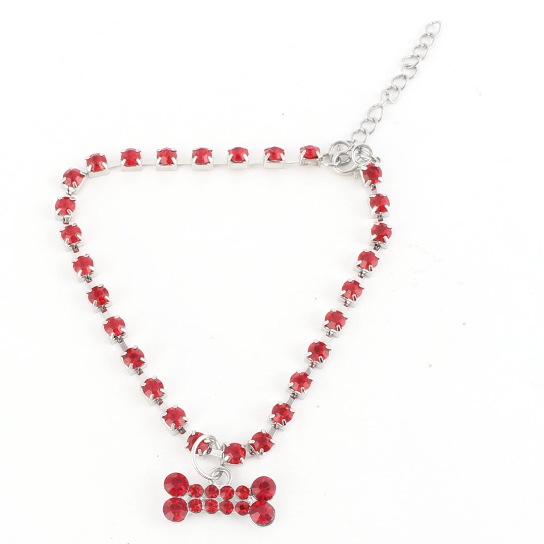 Pet Dog Bone Pattern Pendant Rhinestone Inlaid Decorative Necklace Neck Chain Red