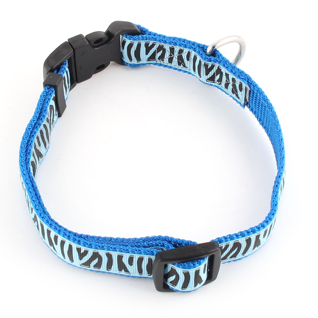 Pet Dog Nylon Zebra-stripe Pattern Adjustable Buckle Strap Belt Neck Collar Blue