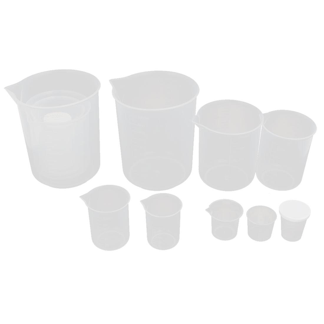 Laboratory Plastic Liquid Container Measuring Cup Beaker 2 Sets