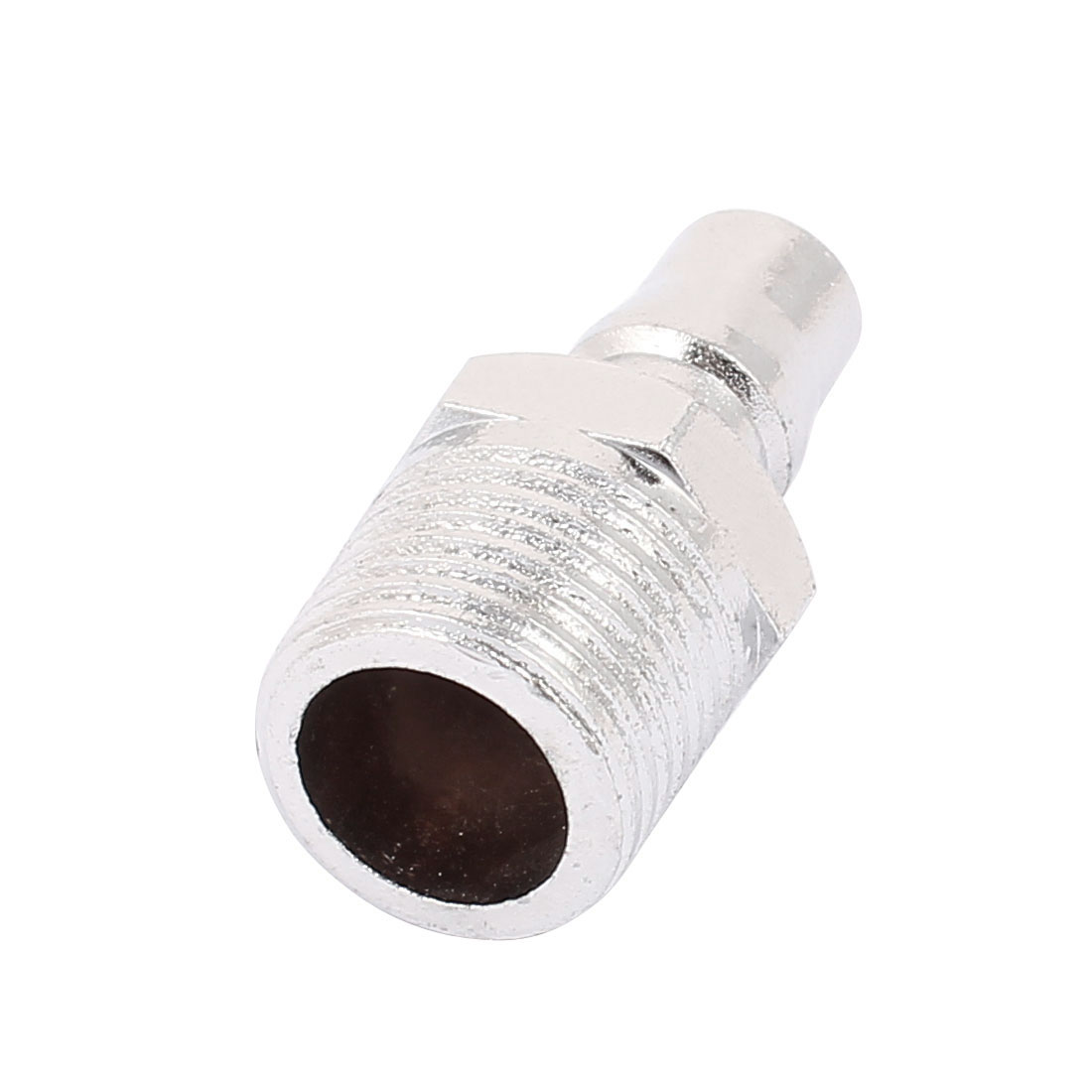 PM40 Male Thread Quick Fitting Pneumatic Connector Coupler Silver Tone