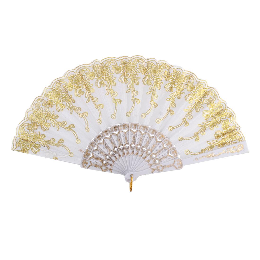 Plastic Rib Chinese Style Cirrus Plant Pattern Folding Hand Fan White Gold Tone