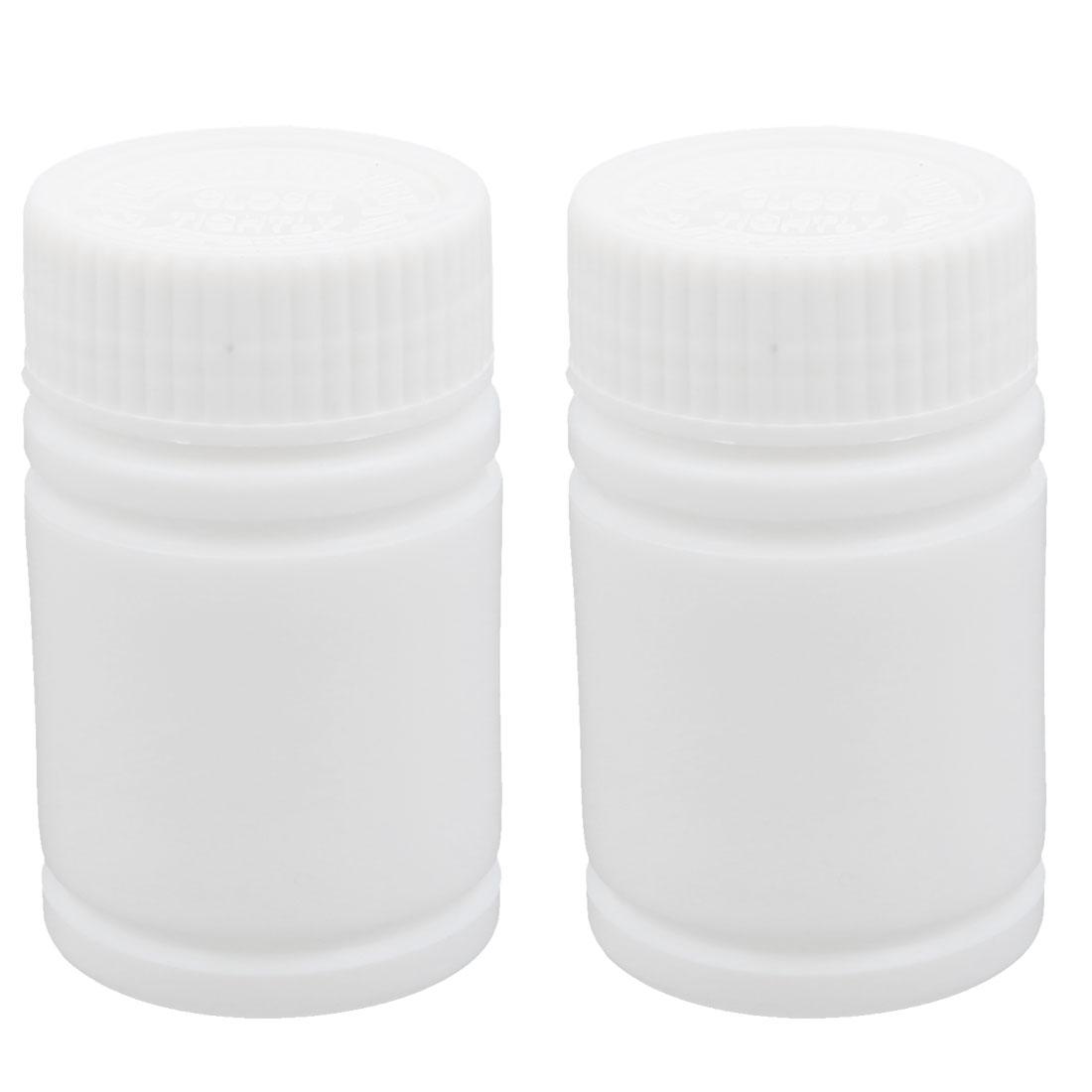 2Pcs 60ml Plastic White Wide Mouth Round Solid Powder Bottle Storage Jar