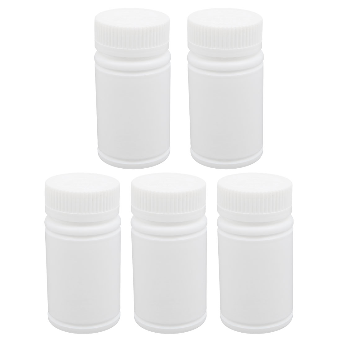 5Pcs 120ml Plastic White Wide Mouth Round Solid Powder Bottle Storage Jar
