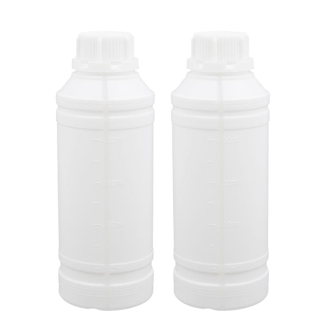 2pcs 17oz HDPE Plastic White Refillable Narrow Mouth Storage Bottle Jar