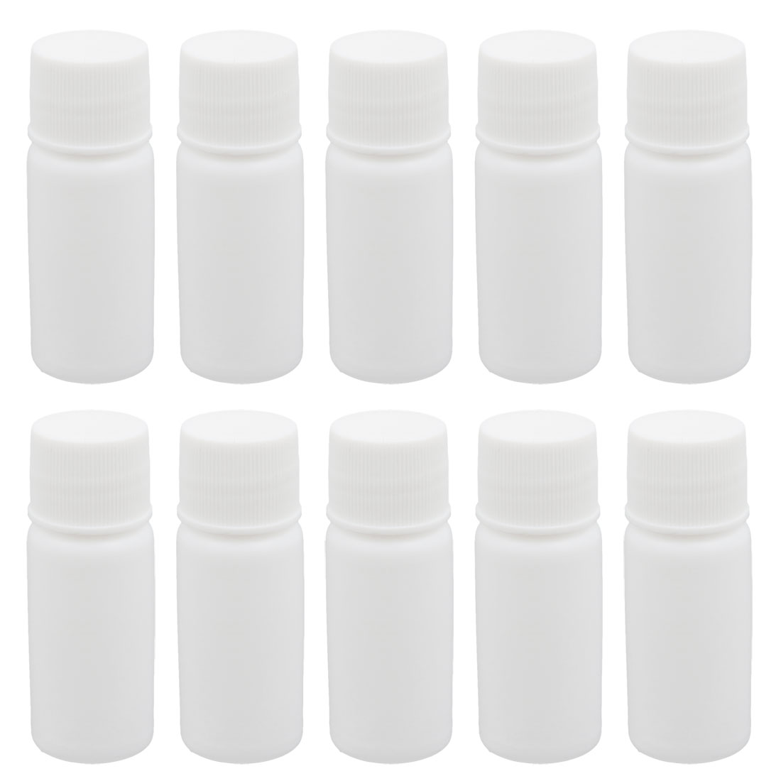 10pcs 0.3oz HDPE Plastic White Refillable Narrow Mouth Storage Bottle Jar