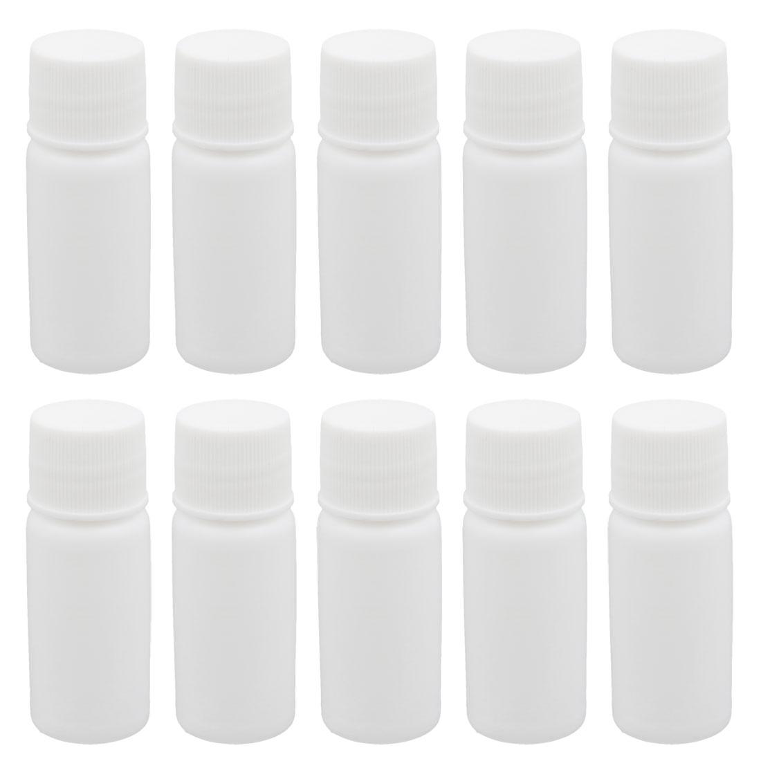 10pcs 0.3oz HDPE Plastic White Refillable Narrow Mouth Storage Bottle Jar