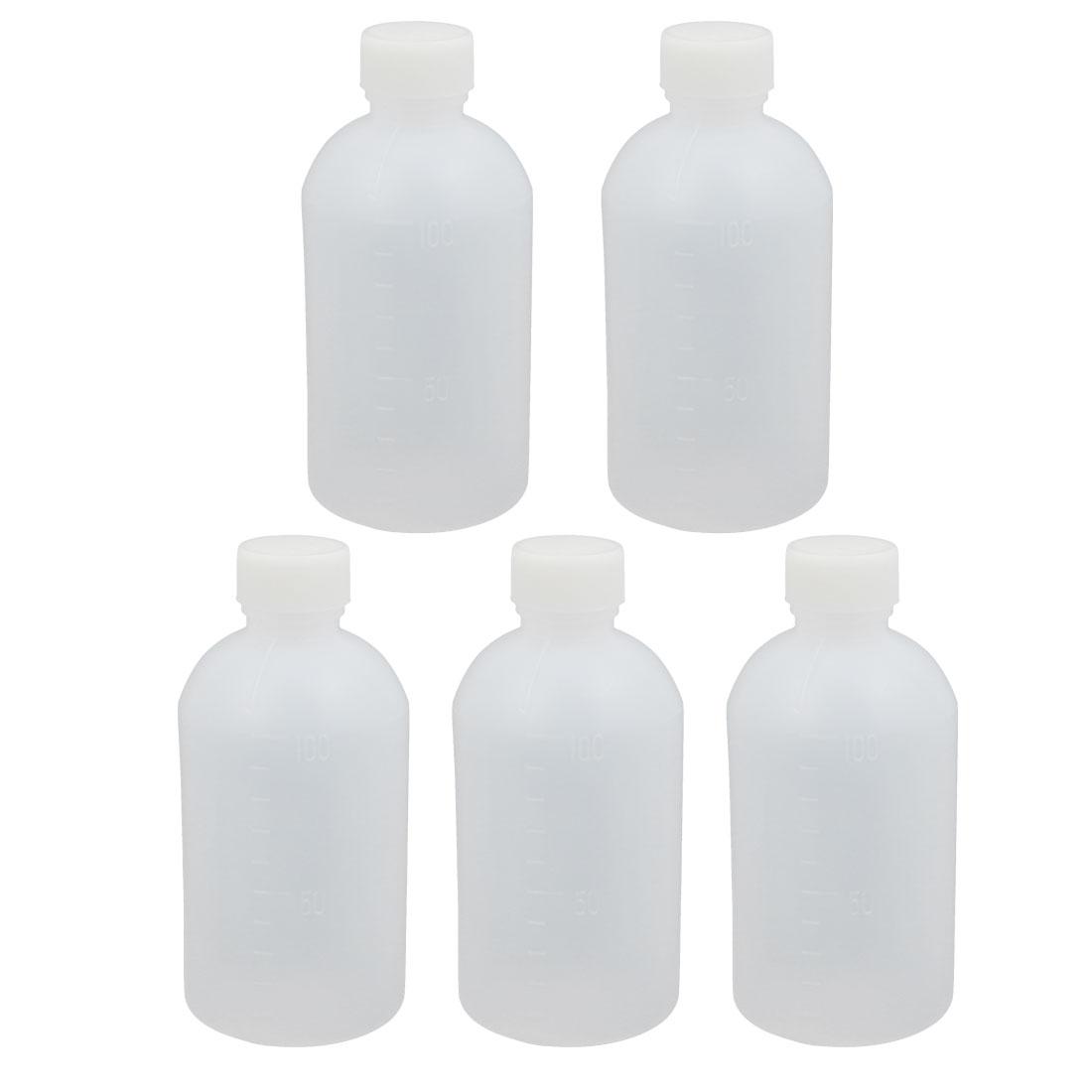 5Pcs 100ml Plastic Translucent Round Solid Powder Bottle Storage Container Jar