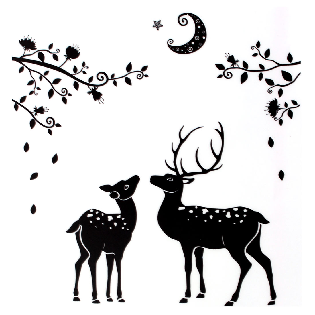 Household Bathroom PVC Deer Pattern Removable Wall Sticker Black White 90 x 60cm