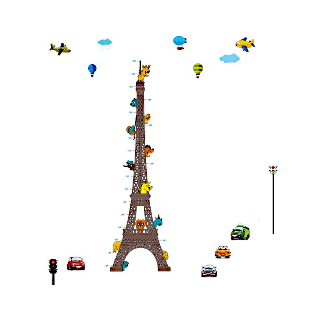 Household Cartoon PVC Eiffel Tower Pattern Self Adhesive Wall Sticker 90 x 60cm