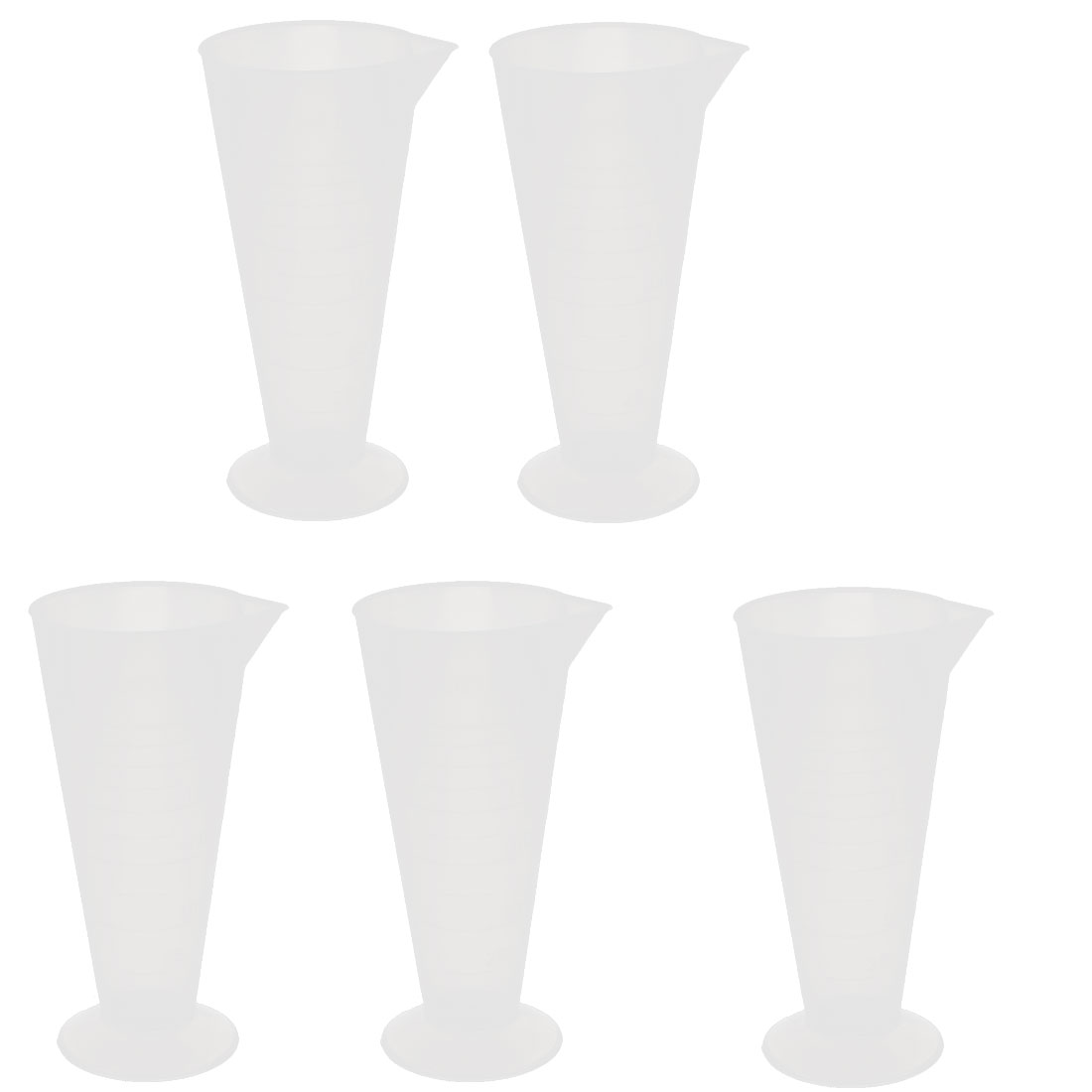 250mL Plastic Round Base Measurement Measuring Graduated Cylinder 5pcs