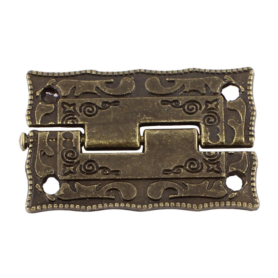 Door Jewelry Box Case Engraved Design Folding Butt Hinge Bronze Tone 37mmx23mm