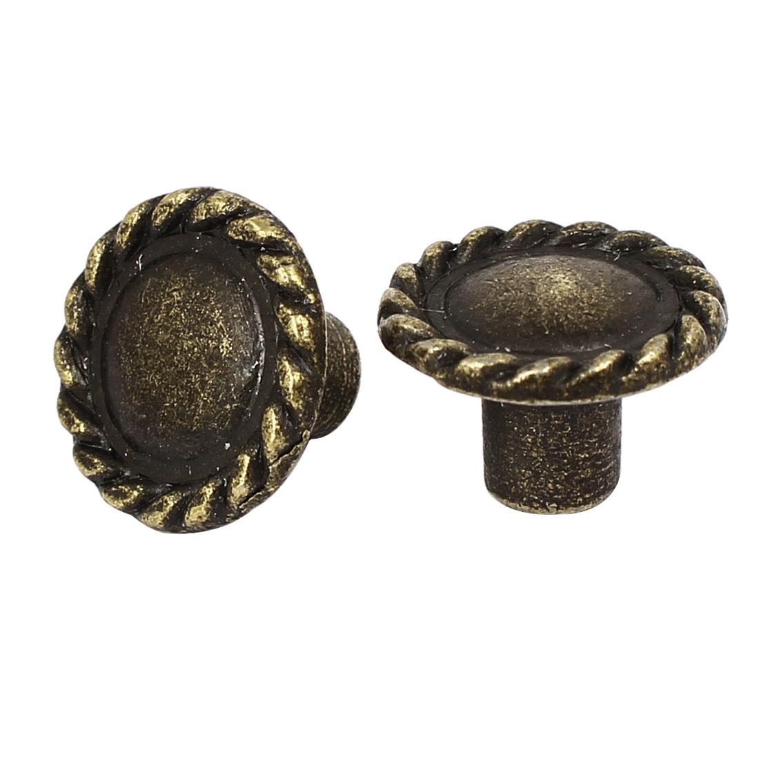 3.5mm Threaded 13mm Diameter Metal Screw Type Pull Knob Bronze Tone 2pcs