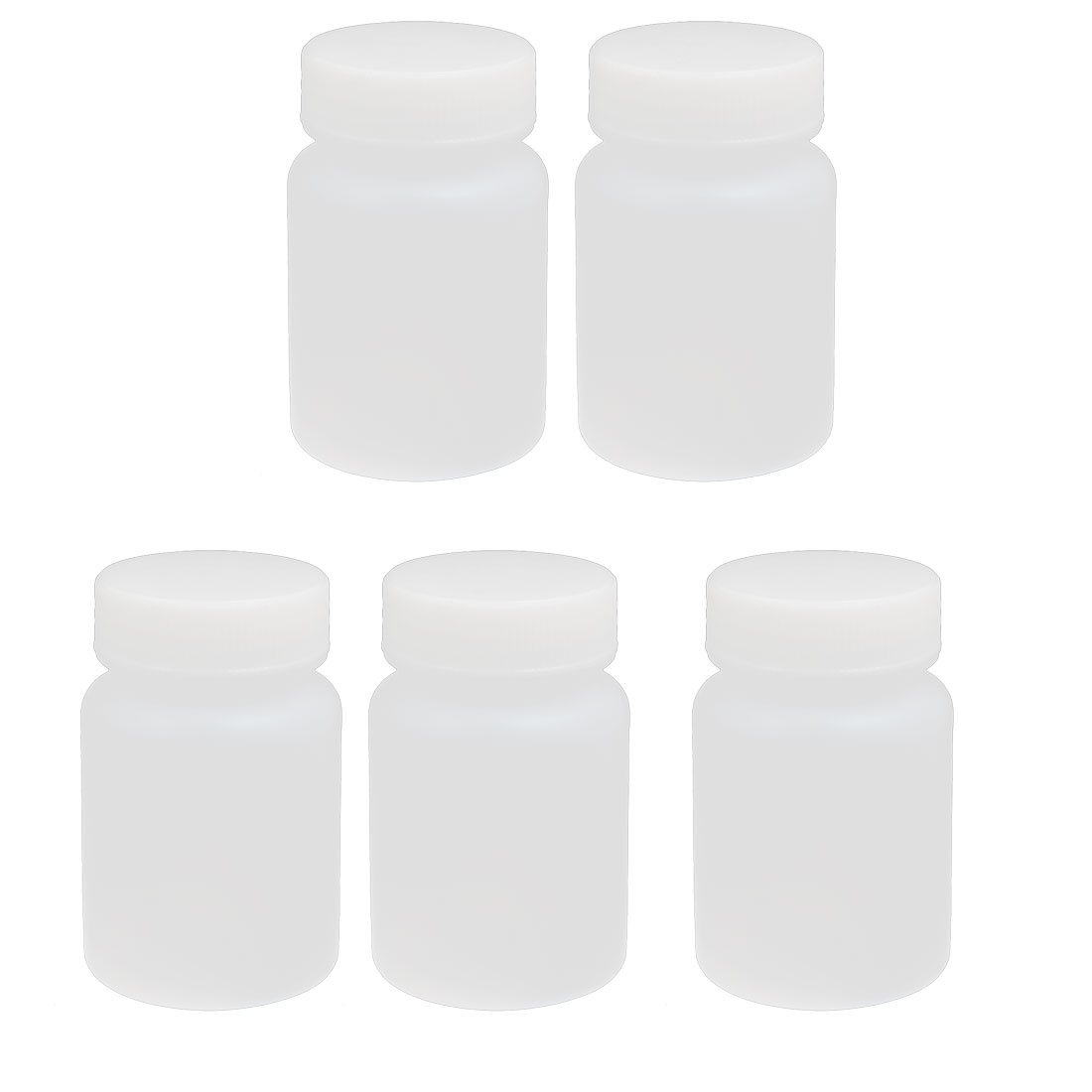 60ml HDPE Plastic Screw Cap Wide Mouth Cylinder Reagent Storage Bottle White 5pcs