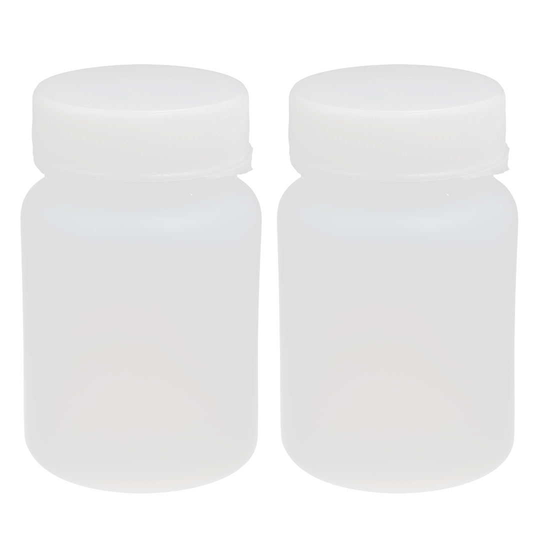 60ml HDPE Plastic Screw Cap Wide Mouth Cylinder Reagent Storage Bottle White 2pcs